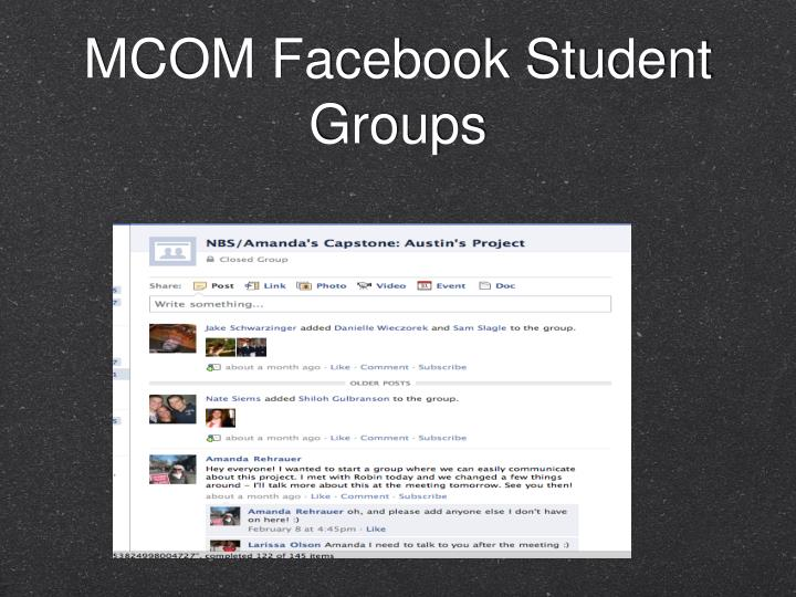 MCOM Facebook Student Groups