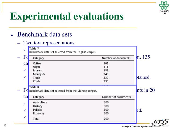 Experimental evaluations