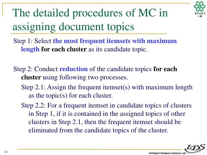 The detailed procedures of MC in assigning document topics