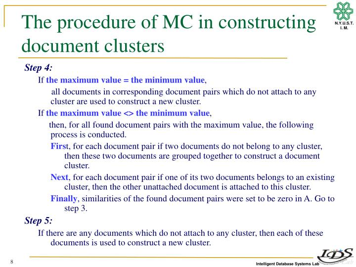 The procedure of MC in constructing document clusters