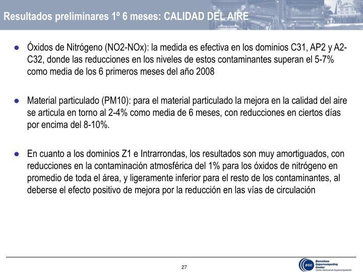 Resultados preliminares 1º 6 meses: CALIDAD DEL AIRE