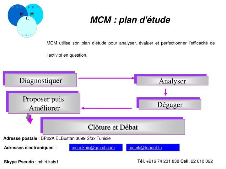 MCM: plan d'étude