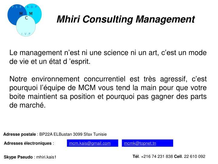 Mhiri Consulting Management