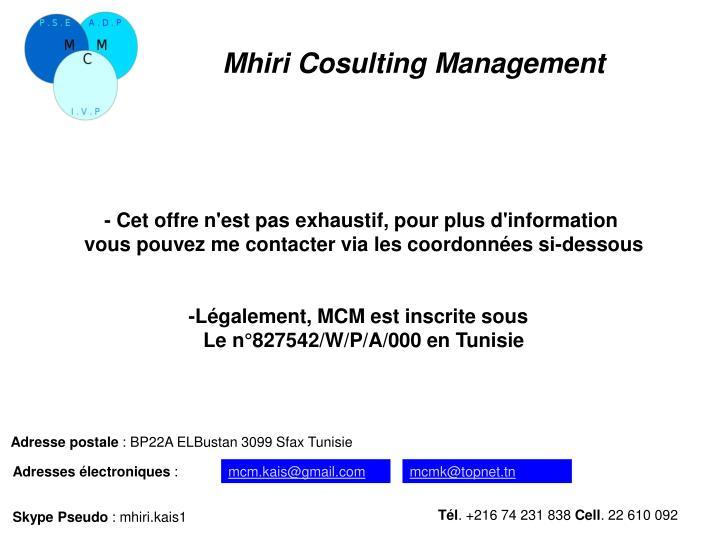 Mhiri Cosulting Management