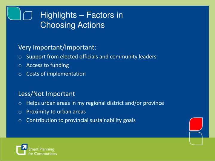 Highlights – Factors in Choosing Actions