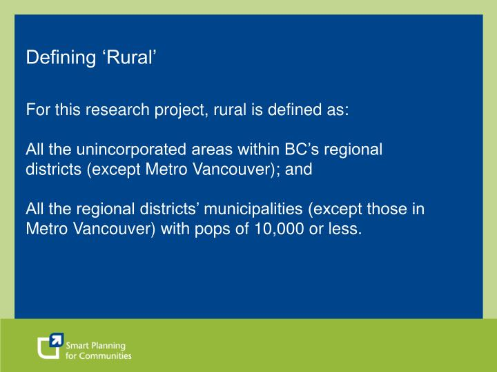 Defining 'Rural'