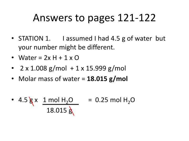 Answers to pages 121-122