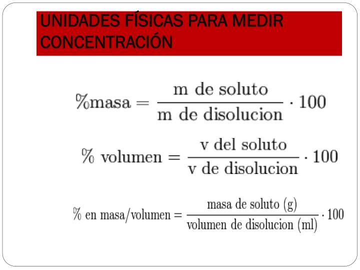 UNIDADES FÍSICAS PARA MEDIR CONCENTRACIÓN