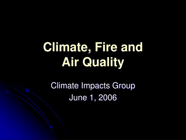 Climate fire and air quality