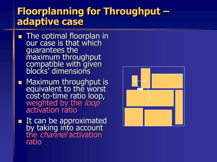 Floorplanning for Throughput – adaptive case