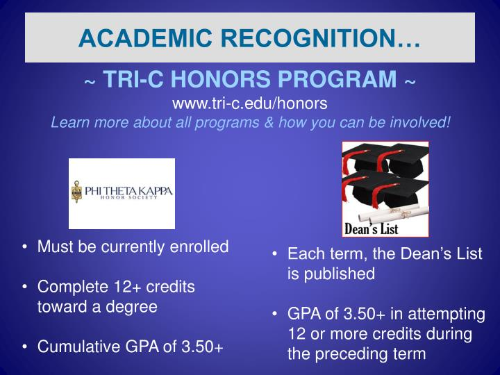 ACADEMIC RECOGNITION…