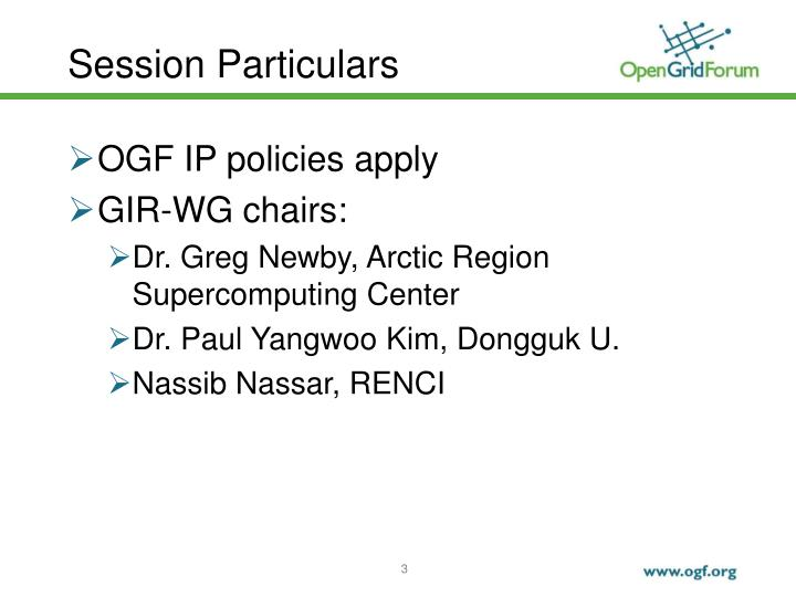 Session Particulars