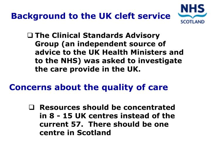 Background to the UK cleft service