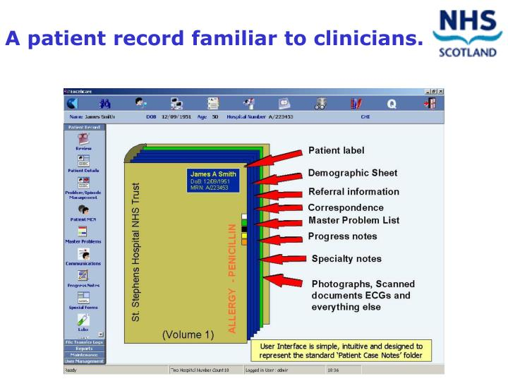 A patient record familiar to clinicians.