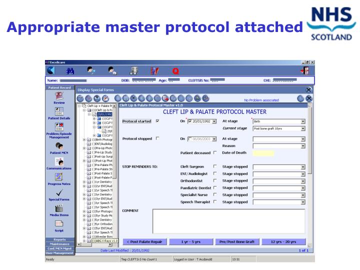 Appropriate master protocol attached