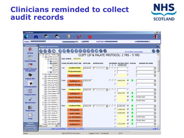 Clinicians reminded to collect audit records