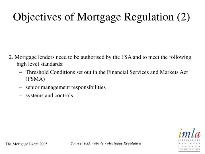 Objectives of Mortgage Regulation (2)