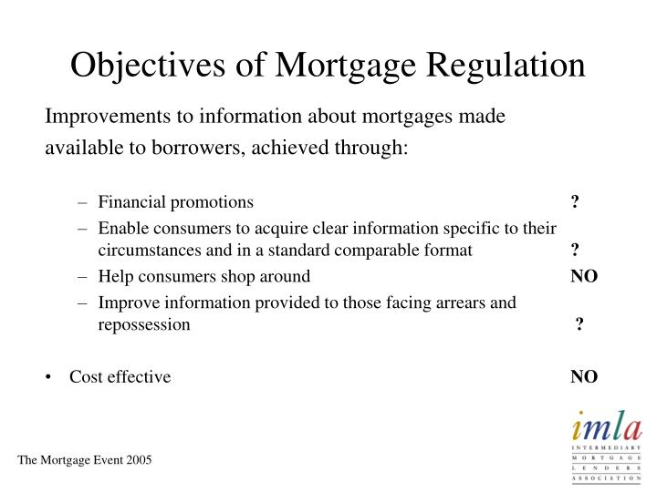 Objectives of Mortgage Regulation