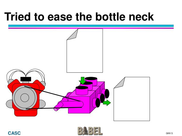 Tried to ease the bottle neck