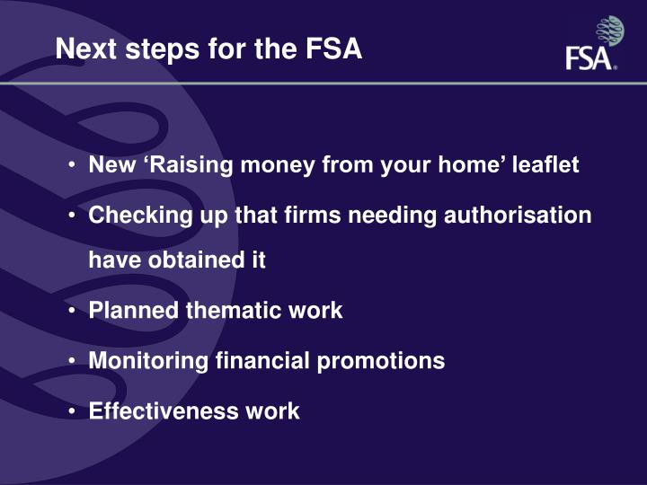 Next steps for the FSA