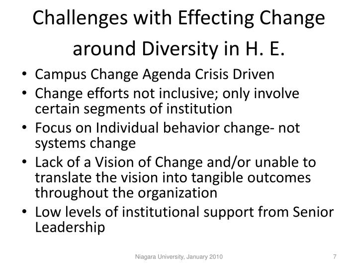 Challenges with Effecting Change around Diversity in H. E.