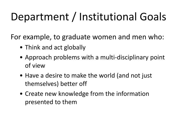 Department / Institutional Goals