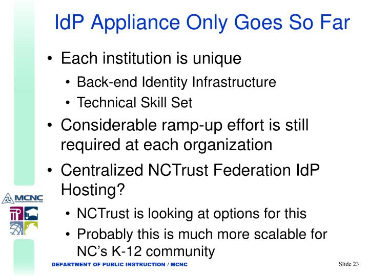 IdP Appliance Only Goes So Far