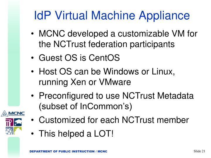 IdP Virtual Machine Appliance