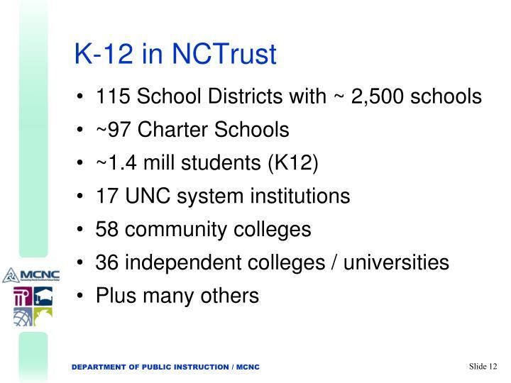 K-12 in NCTrust