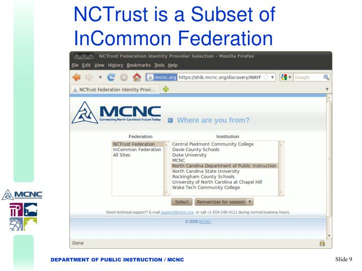 NCTrust is a Subset of InCommon Federation