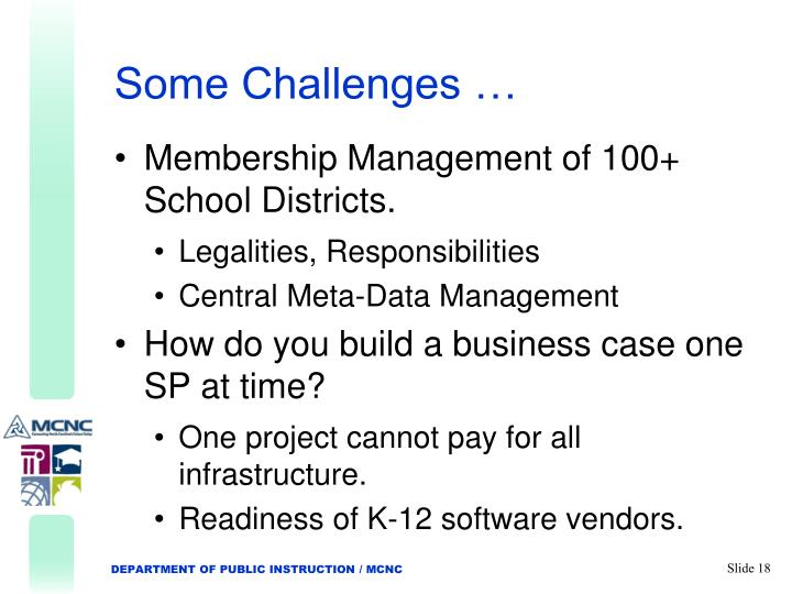 Some Challenges …