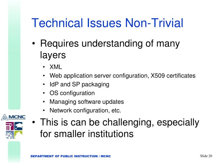 Technical Issues Non-Trivial