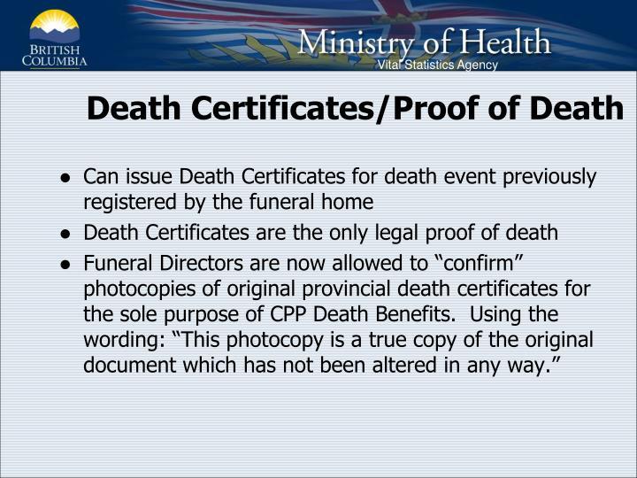 Death Certificates/Proof of Death