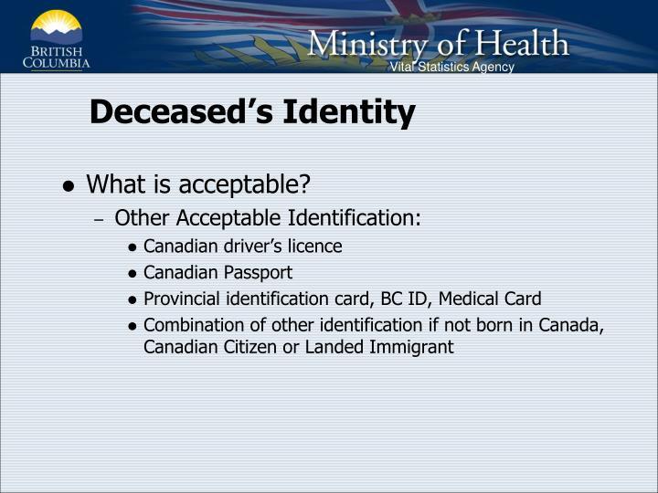Deceased's Identity