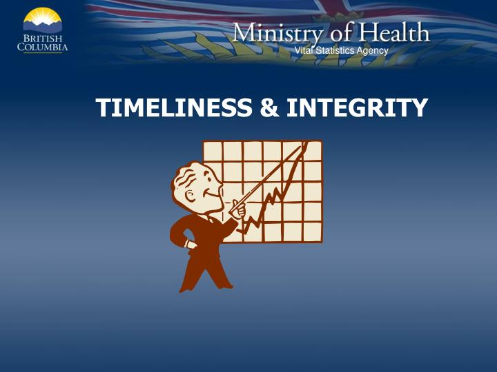 TIMELINESS & INTEGRITY