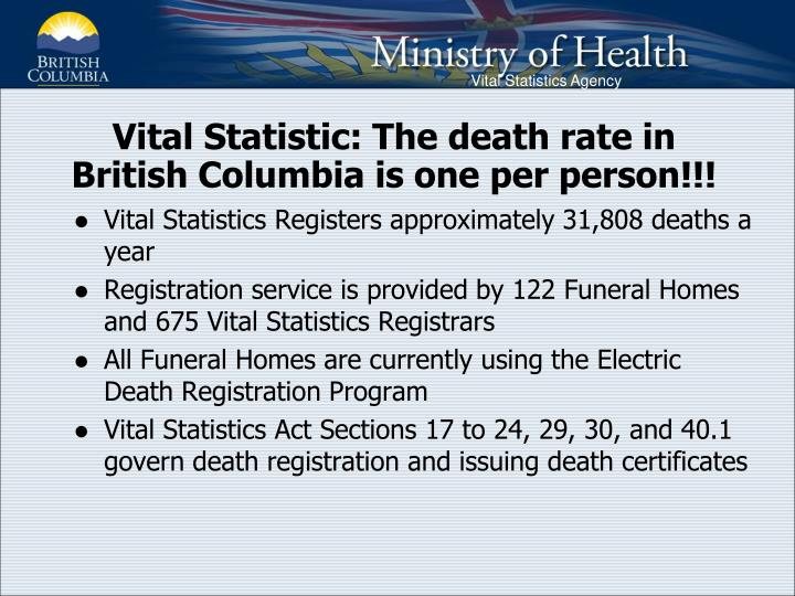 Vital Statistic: The death rate in British Columbia is one per person!!!
