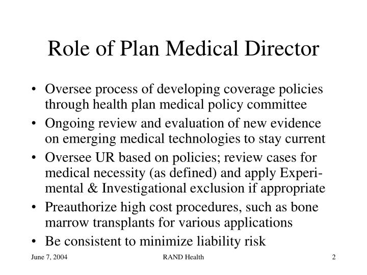 Role of Plan Medical Director