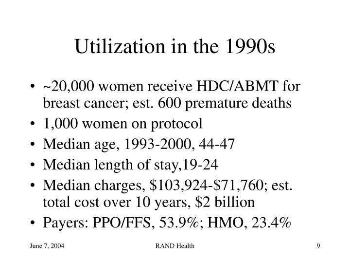 Utilization in the 1990s