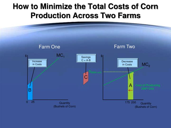 How to Minimize the Total Costs of Corn Production Across Two Farms