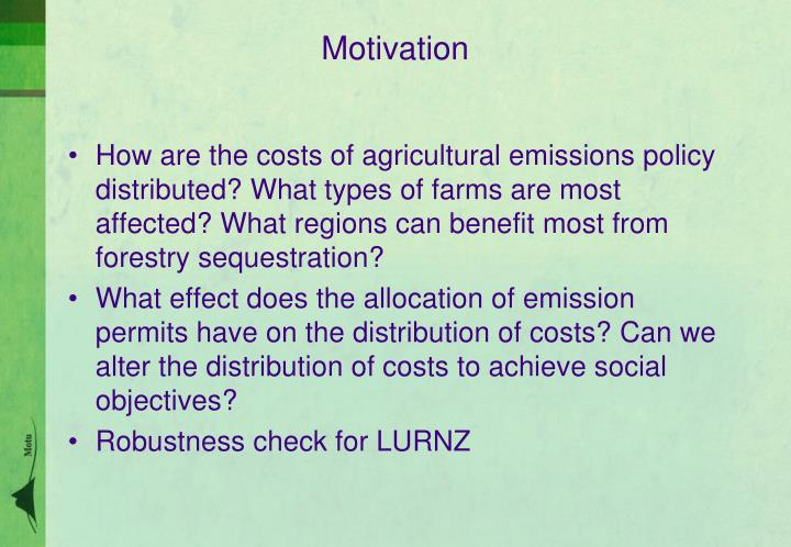 How are the costs of agricultural emissions policy distributed?