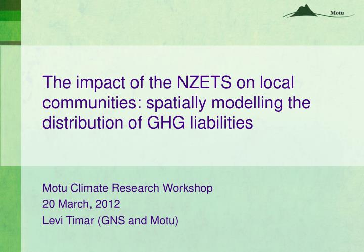 The impact of the NZETS on local communities: spatially modelling the distribution of GHG liabilities