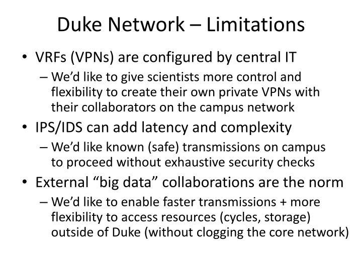 Duke Network – Limitations