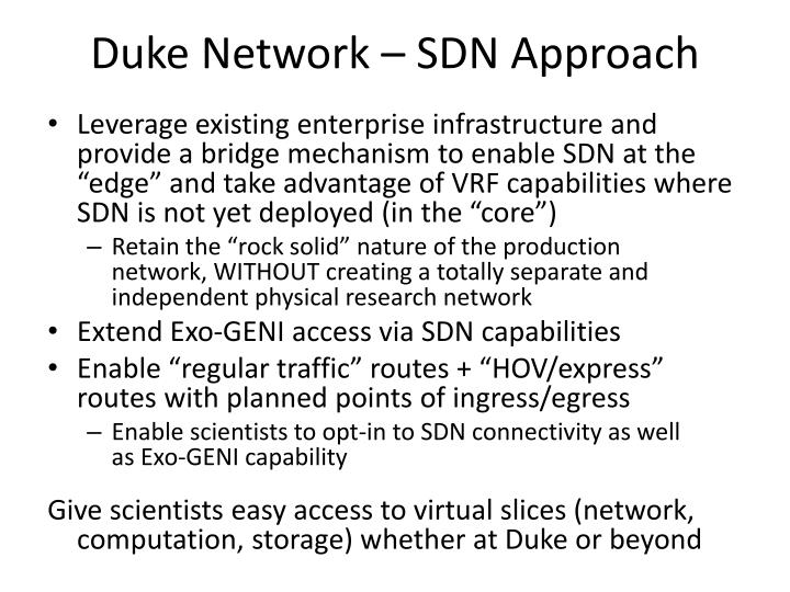 Duke Network – SDN Approach