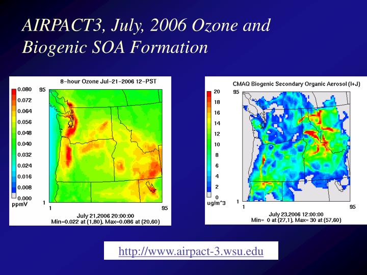 AIRPACT3, July, 2006 Ozone and Biogenic SOA Formation