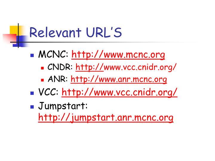 Relevant URL'S