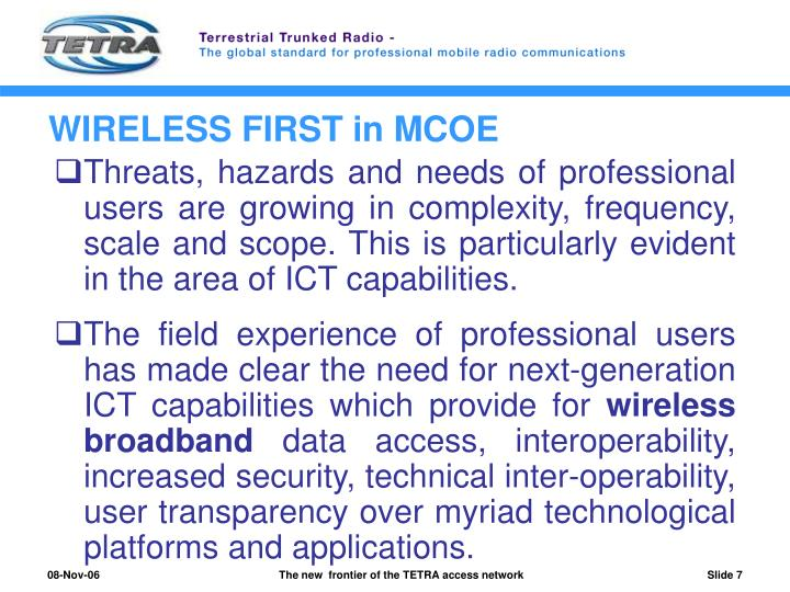 WIRELESS FIRST in MCOE