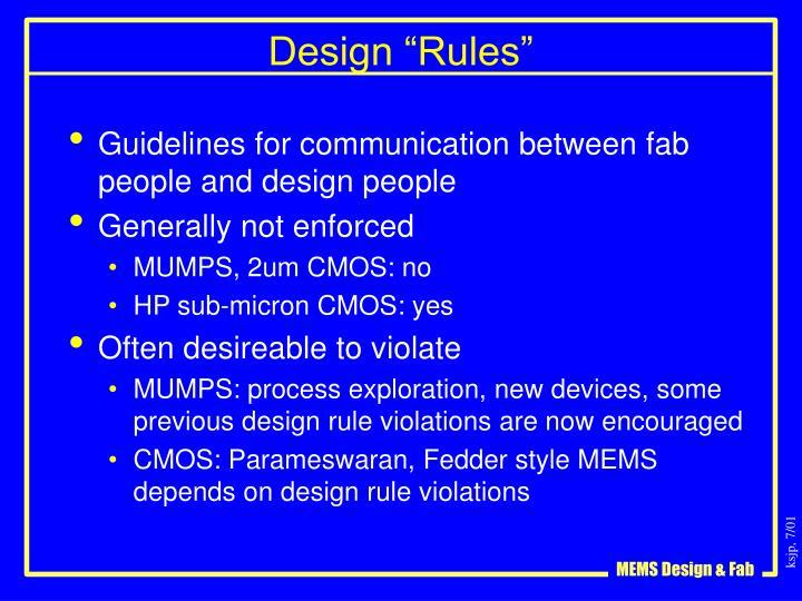 """Design """"Rules"""""""