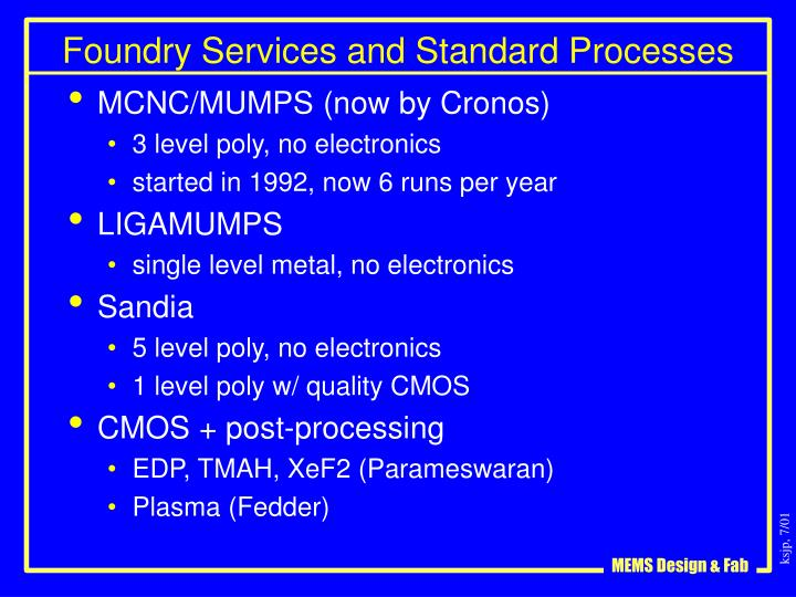 Foundry Services and Standard Processes