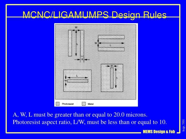 MCNC/LIGAMUMPS Design Rules