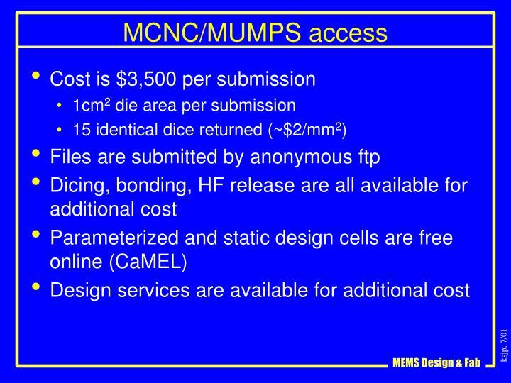 MCNC/MUMPS access